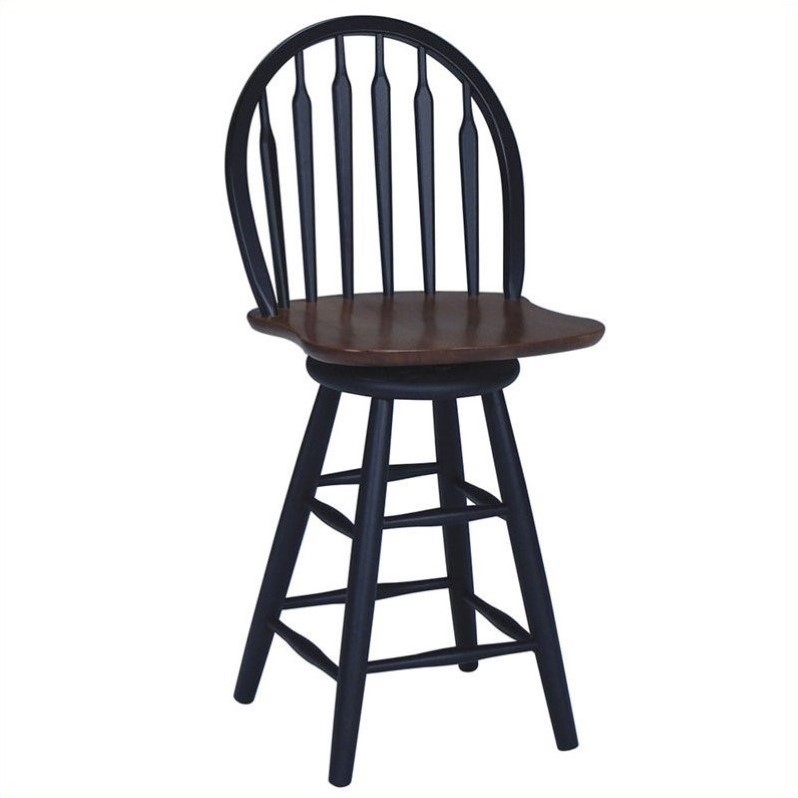 Windsor 24 75 Quot Arrowback Swivel Counter Stool In Black