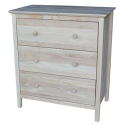 International Concepts Unfinished 3-Drawer Chest
