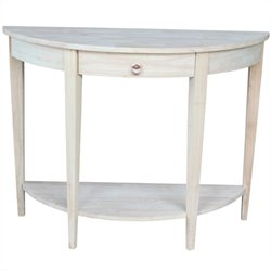 International Concepts Home Accents Unfinished Half Moon Console Table