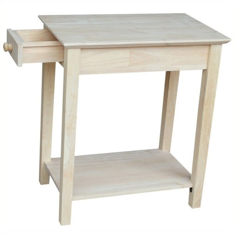 Unfinished narrow 1 drawer end table ot 2214 for Narrow accent table
