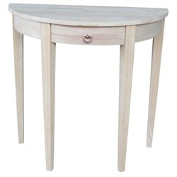 International Concepts Home Accents Unfinished 1-Drawer Half Moon Table