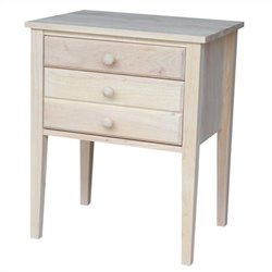 International Concepts Home Accents Unfinished 3-Drawer Accent Table
