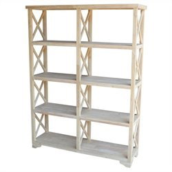 International Concepts Home Accents Unfinished 4-Tier 'X' Sided Double Shelf Unit