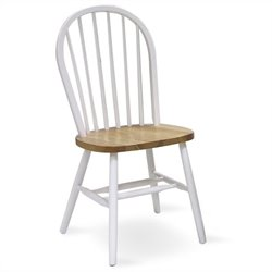 International Concepts Spindleback Windsor Wood Side Chair in Natural and White Finish