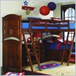 ADD TO YOUR SET: Lea Deer Run Wood Loft Triple Bunk Bed in Brown Cherry