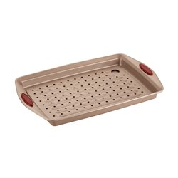 Rachael Ray Cucina Nonstick 2 Piece Crisper Set in Latte Brown and Red