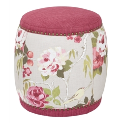 Upholstered Stool in Berry
