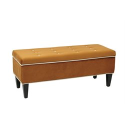 Office Star OSP Accents Upholstered Storage Bench in Goldenrod