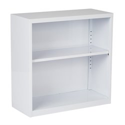 2 Shelf Metal Bookcase in White
