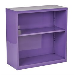 Office Star OSP Designs 2 Shelf Metal Bookcase in Purple