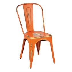 Office Star Work Smart Bristow Metal Stacking Chair in Antique Orange (Set of 4)