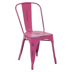 Office Star Work Smart Bristow Metal Stacking Chair in Antique Pink (Set of 4)