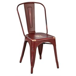 Office Star Work Smart Bristow Metal Stacking Chair in Antique Red (Set of 4)