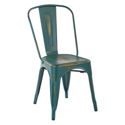 Office Star Work Smart Bristow Metal Stacking Chair in Turquoise (Set of 4)