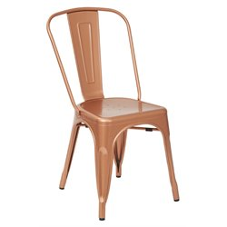 Office Star Work Smart Bristow Metal Stacking Chair in Copper  (Set of 4)