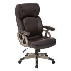 Office Star Work Smart Executive Bonded Leather Chair in Chestnut