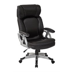 Office Star Work Smart Executive Bonded Leather Chair in Black