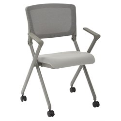 Office Star Work Smart Mesh Back Folding Chair in Gray (Set of 2)