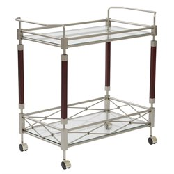 Serving Cart in Nickel Brush