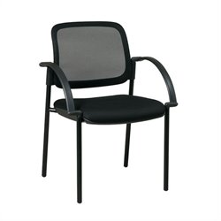 Office Star Screen Back Mesh Seat Visitors Guest Chair in Black