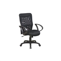 Office Star Work Smart Screen Back Office Chair with Mesh Seat and Loop Arms in Black