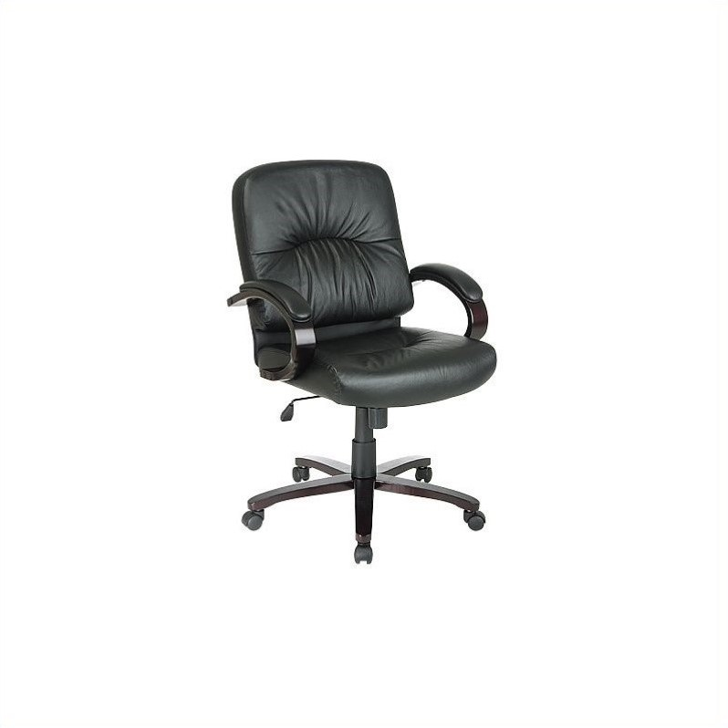 Black Mid Back Executive Leather Chair with Mahogany Finish Wood Base and Arms