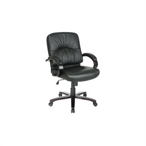 Mid Back Executive Black Leather Office Chair