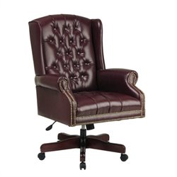 Office Star Deluxe High Back Traditional Executive Office Chair (Ox Blood color Vinyl)