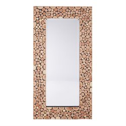 Office Star OSP Designs Wooden Wall Mirror in Lightwood
