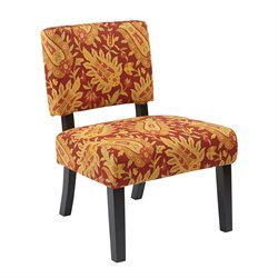Office Star Ave Six Accent Chair in Floral Cinnabar
