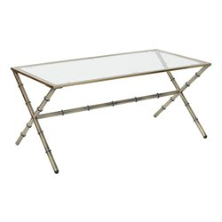 Office Star OSP Designs Lanai Coffee Table in Antique Brass