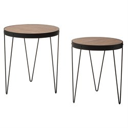 Office Star OSP Designs 2 Piece Nesting Table Set in Calico and Black
