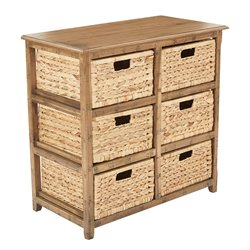 Office Star OSP Designs 6 Drawer Storage Unit in Distressed Toffee
