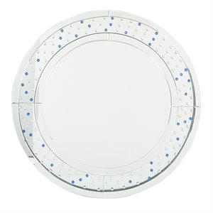 Office Star OSP Designs Round Wall Mirror in Silver