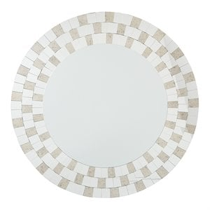 Office Star OSP Designs Round Wall Mirror in Light Gold
