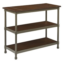 Office Star Ave Six Console Table in Pewter and Walnut
