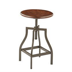 Office Star Ave Six Swivel Bar Stool in Pewter and Walnut