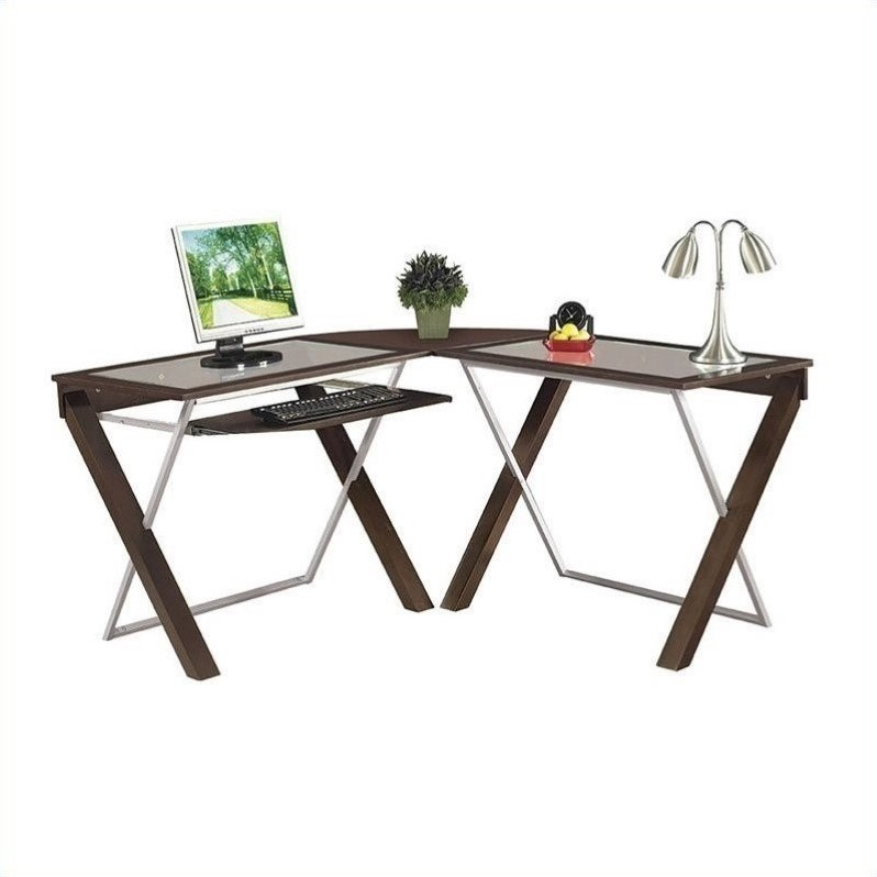 L-Shape Glass Top Wood Computer Desk in Espresso