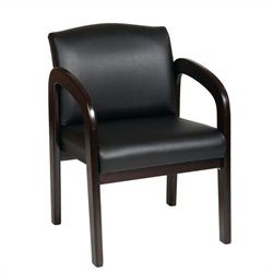 Office Star WD Faux Leather Wood Visitor Guest Chair in Espresso