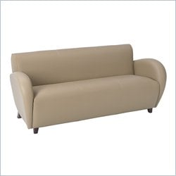 Office Star Eleganza Eco Leather Sofa in Taupe