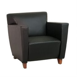 Office Star Leather Club Chair in Black
