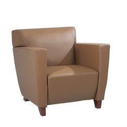Office Star Leather Club Chair in Tan