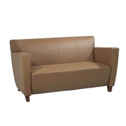 Taupe Leather Love Seat
