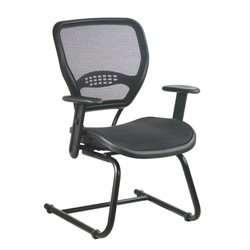Office Star 55 Series AirGrid Seat and Back Visitors Guest Chair in Black
