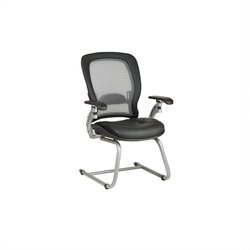 Office Star SPACE Air Grid Back Leather Guest Chair with Platinum Finish Cantilever Base