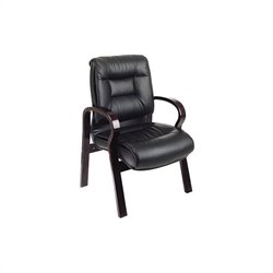 Office Star 8500 Series Deluxe Mid Back Leather Guest Chair in Black