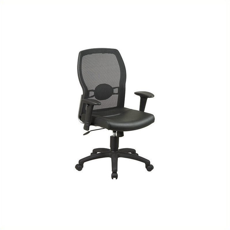 Mesh Back Leather Seat Chair with Adjustable Arms in Black