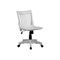Office Star Deluxe Armless Wood Bankers Office Chair with Wood Seat in White