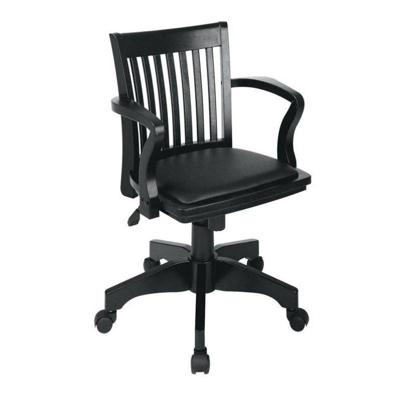 Deluxe Wood Bankers Arm Office Chair with Vinyl Padded Seat