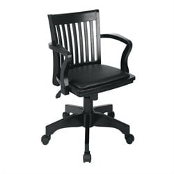 Wood Bankers Arm Office Chair with Vinyl Padded Seat